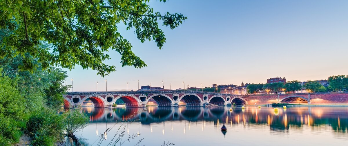 Le pont neuf et les quais de la Garonne vus depuis la prairie des filtres