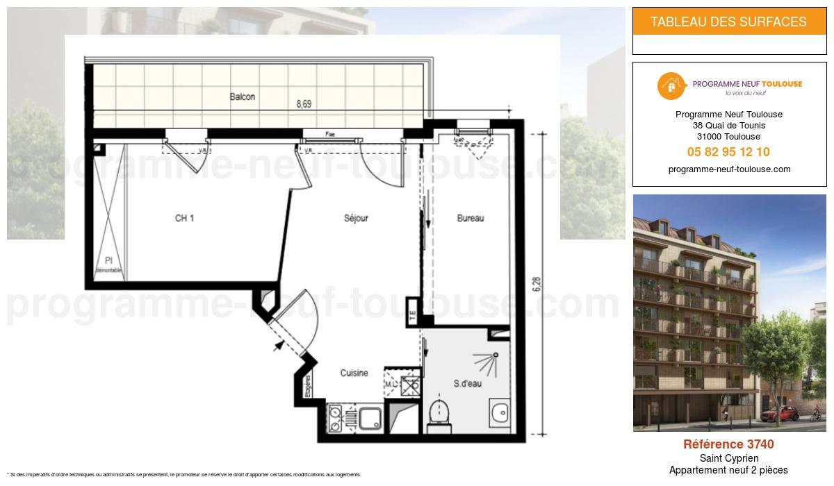 Plan pour un Appartement neuf de  0m² à Saint Cyprien