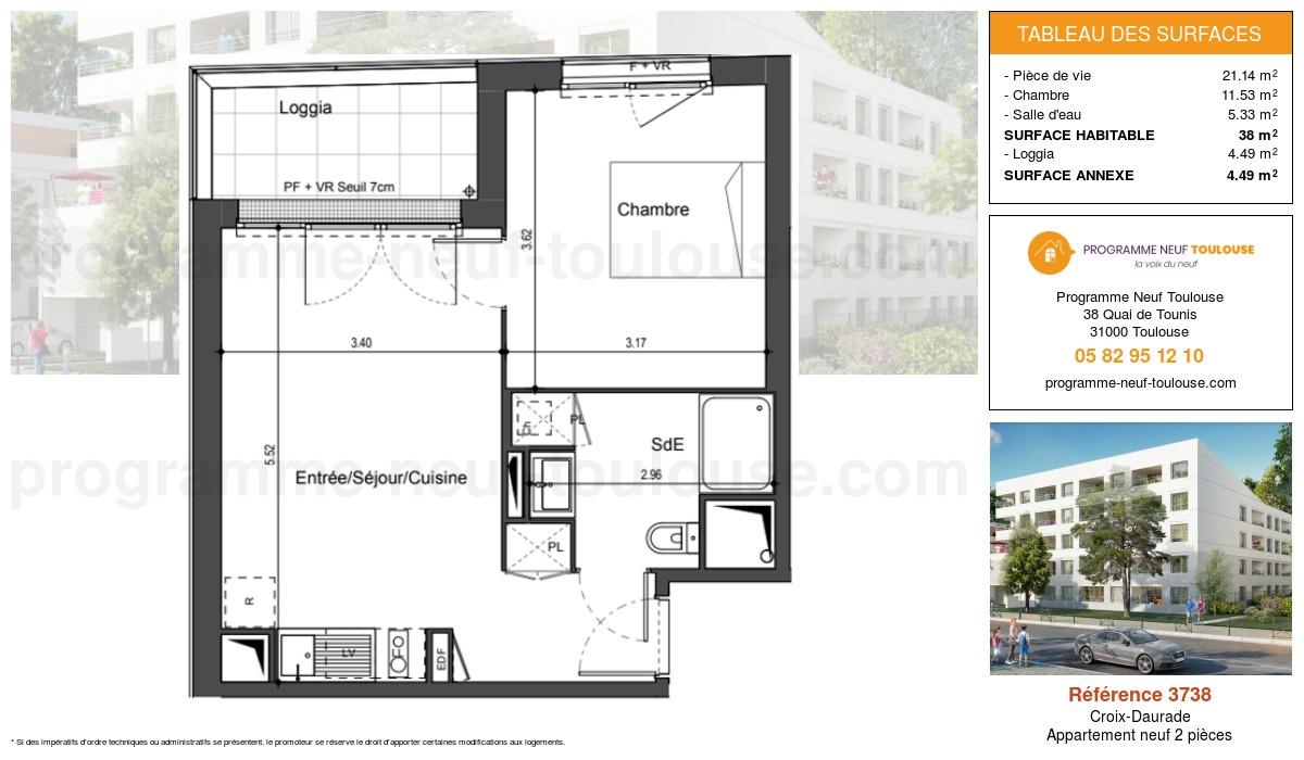 Plan pour un Appartement neuf de  38m² à Croix-Daurade
