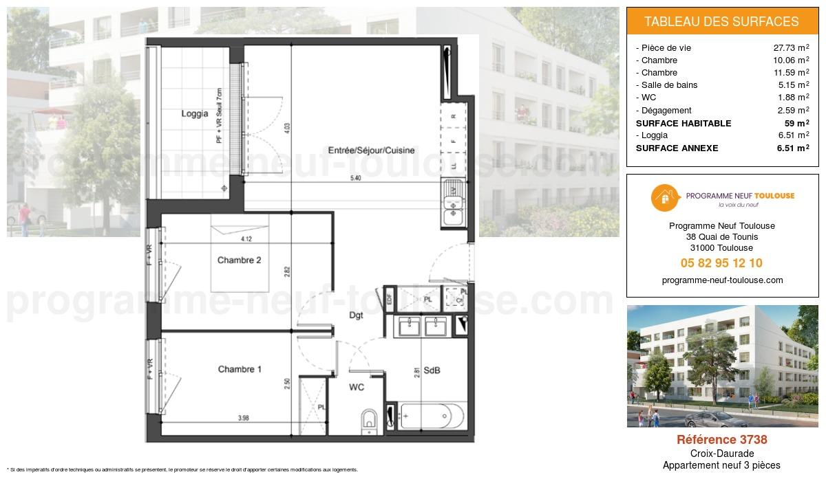 Plan pour un Appartement neuf de  59m² à Croix-Daurade