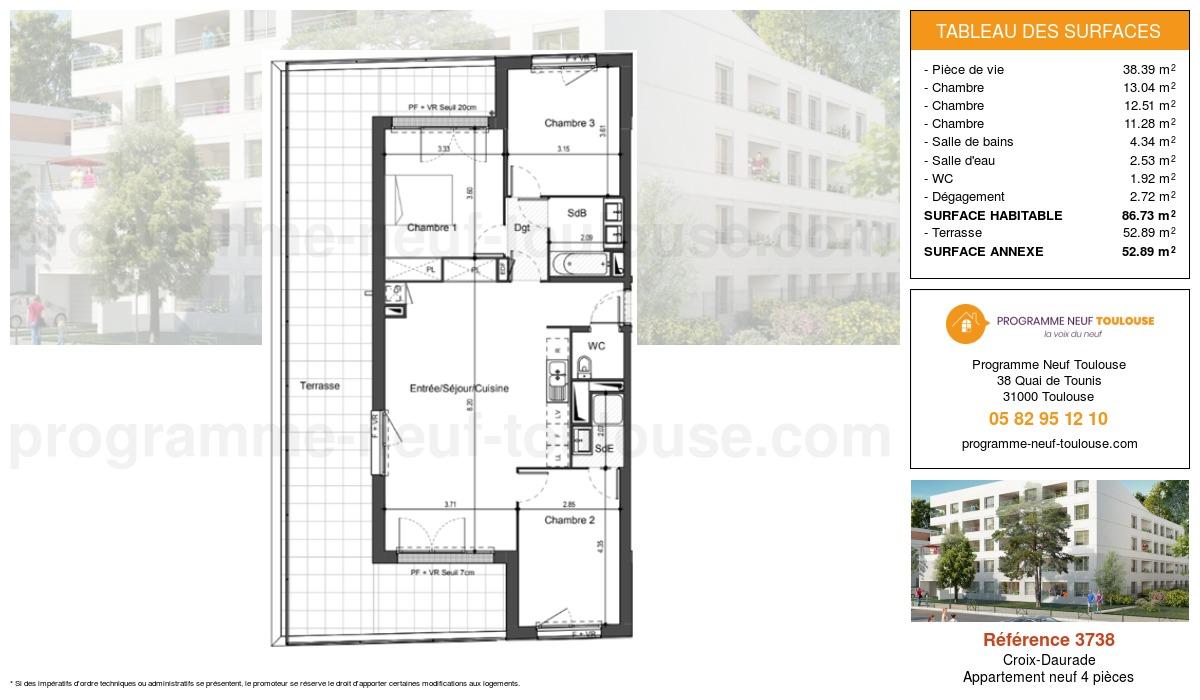 Plan pour un Appartement neuf de  86.7m² à Croix-Daurade