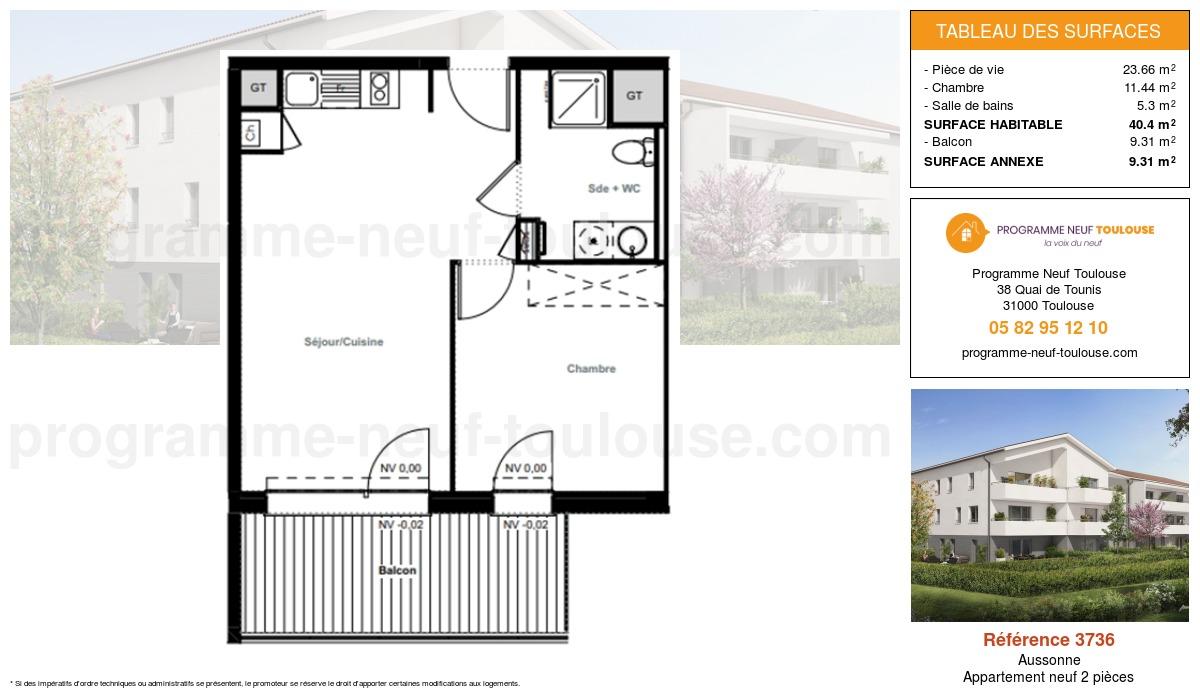 Plan pour un Appartement neuf de  40.4m² à Aussonne