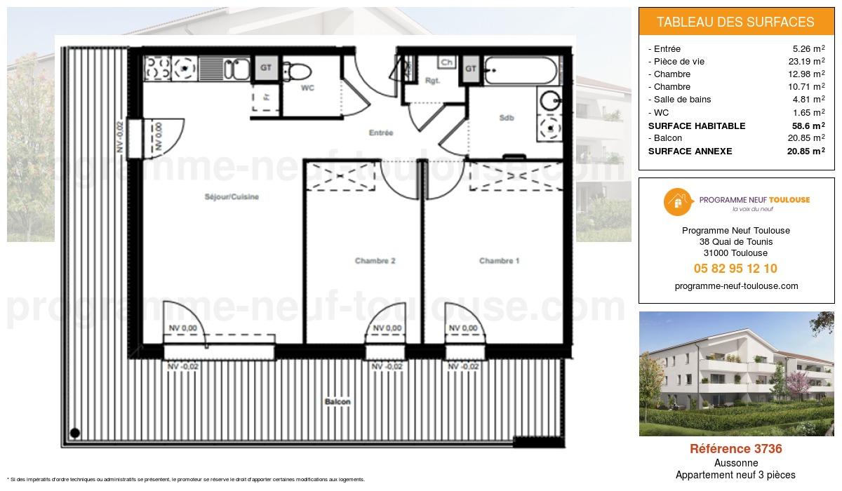 Plan pour un Appartement neuf de  58.6m² à Aussonne