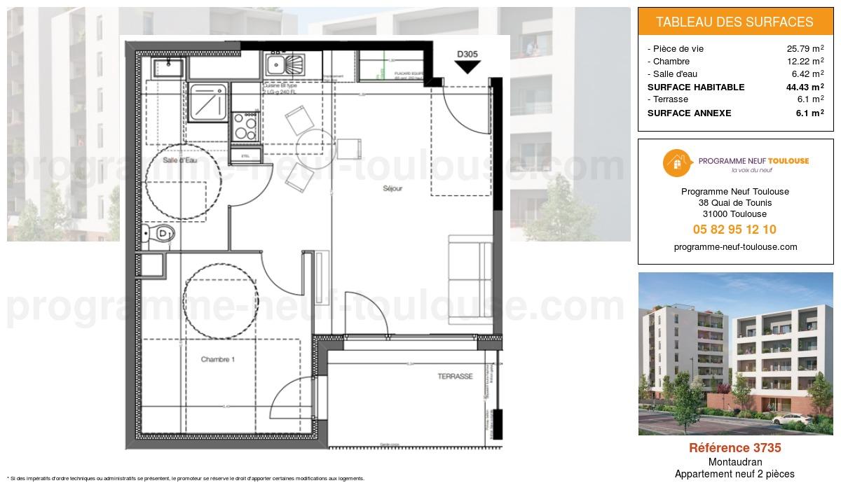 Plan pour un Appartement neuf de  44.43m² à Montaudran