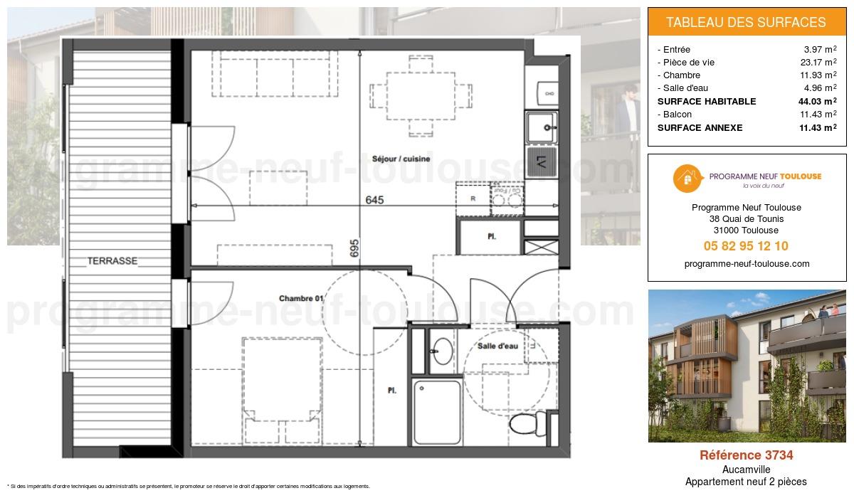 Plan pour un Appartement neuf de  44.03m² à Aucamville