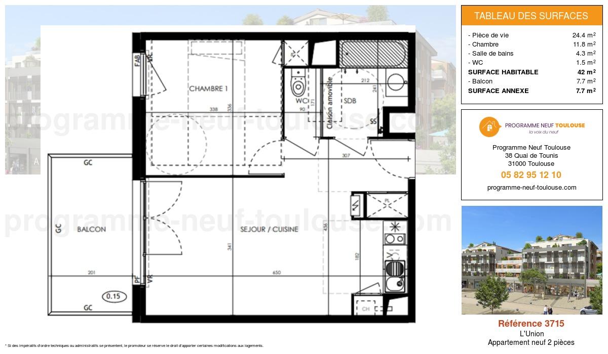Plan pour un Appartement neuf de  42m² à L'Union