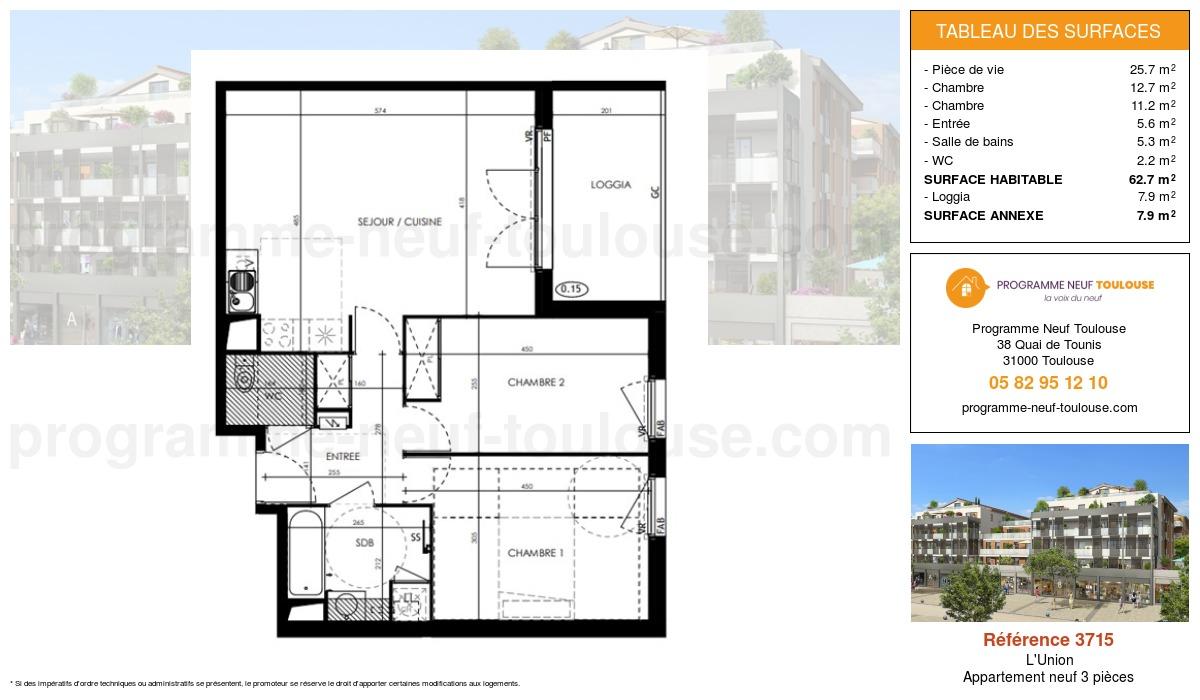Plan pour un Appartement neuf de  62.7m² à L'Union