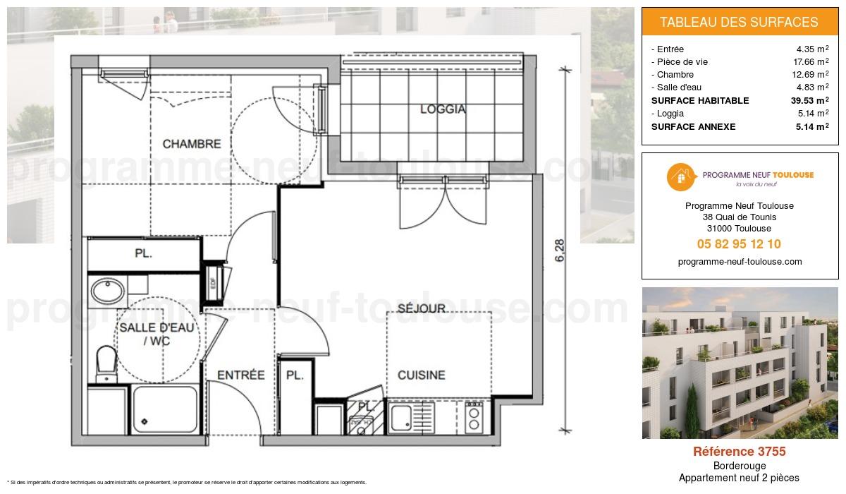 Plan pour un Appartement neuf de  39.53m² à Borderouge
