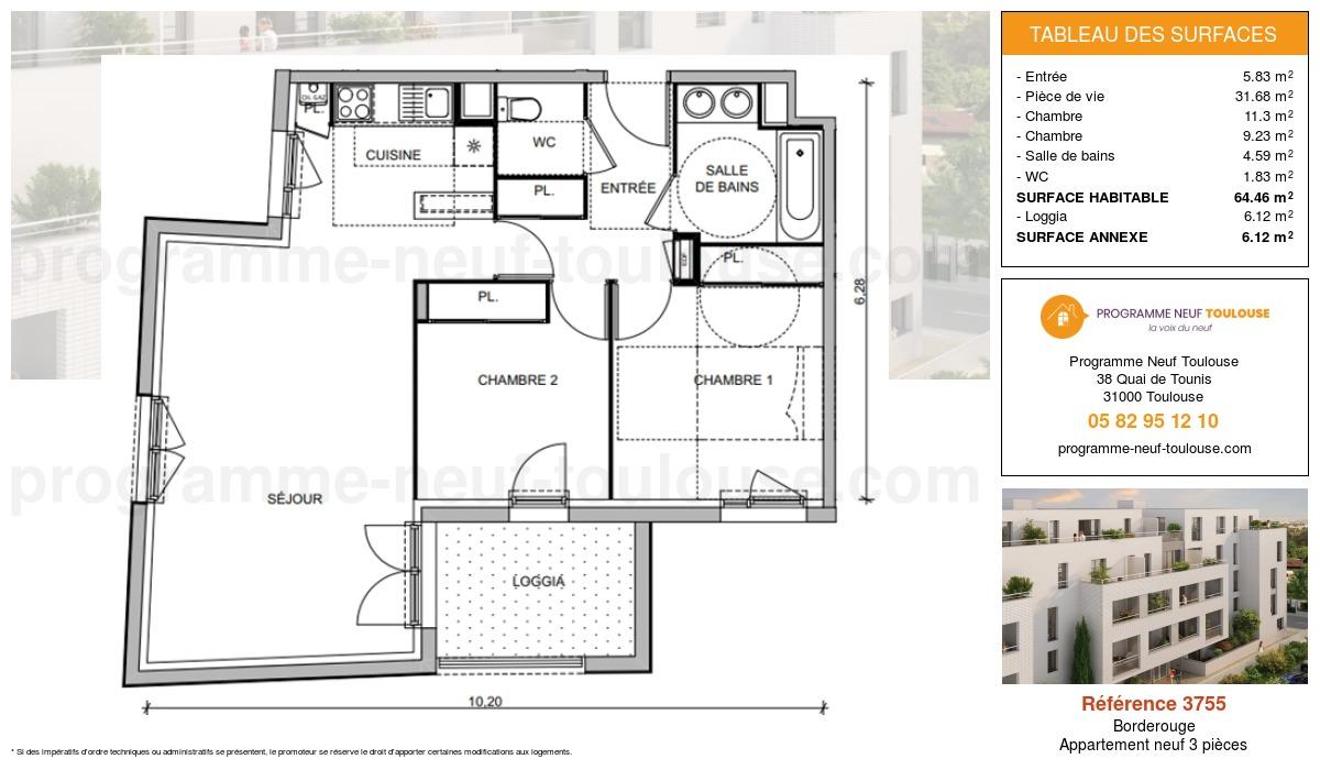 Plan pour un Appartement neuf de  64.46m² à Borderouge