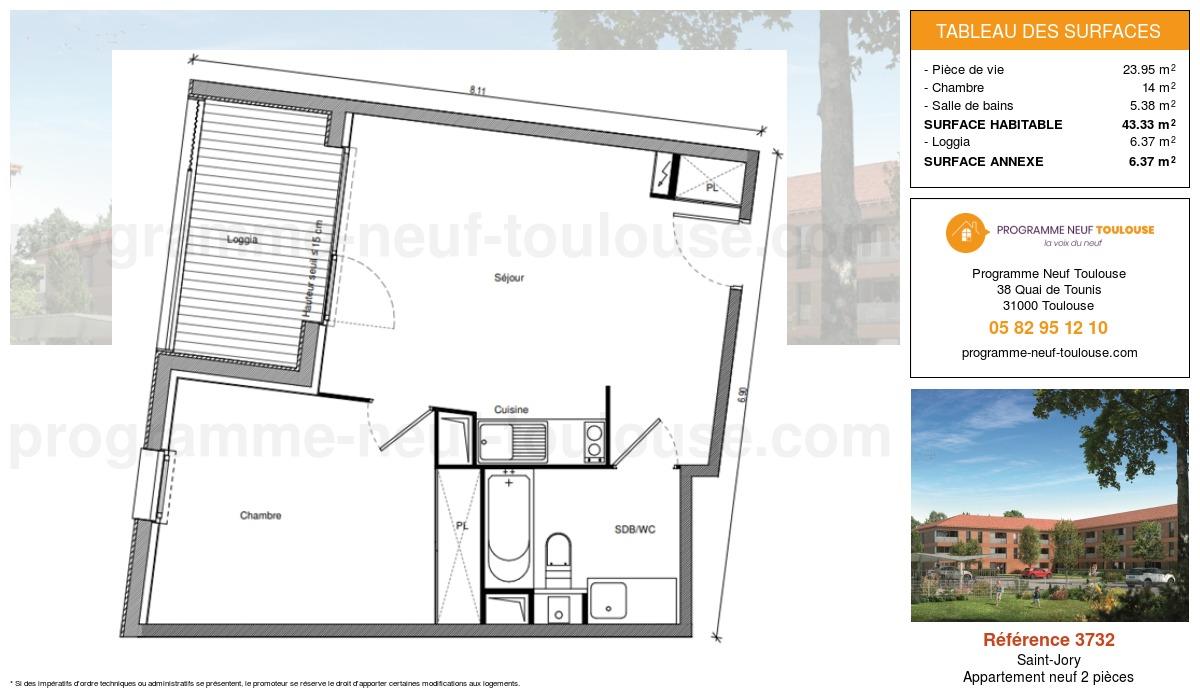 Plan pour un Appartement neuf de  43.33m² à Saint-Jory