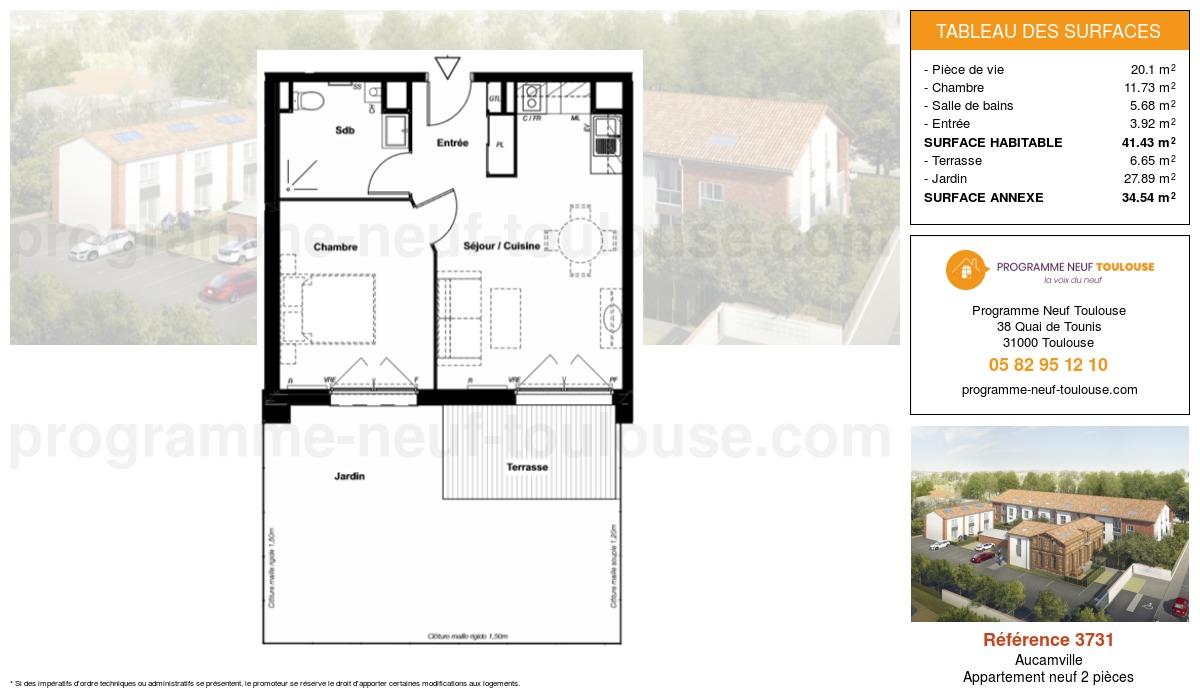 Plan pour un Appartement neuf de  41.43m² à Aucamville