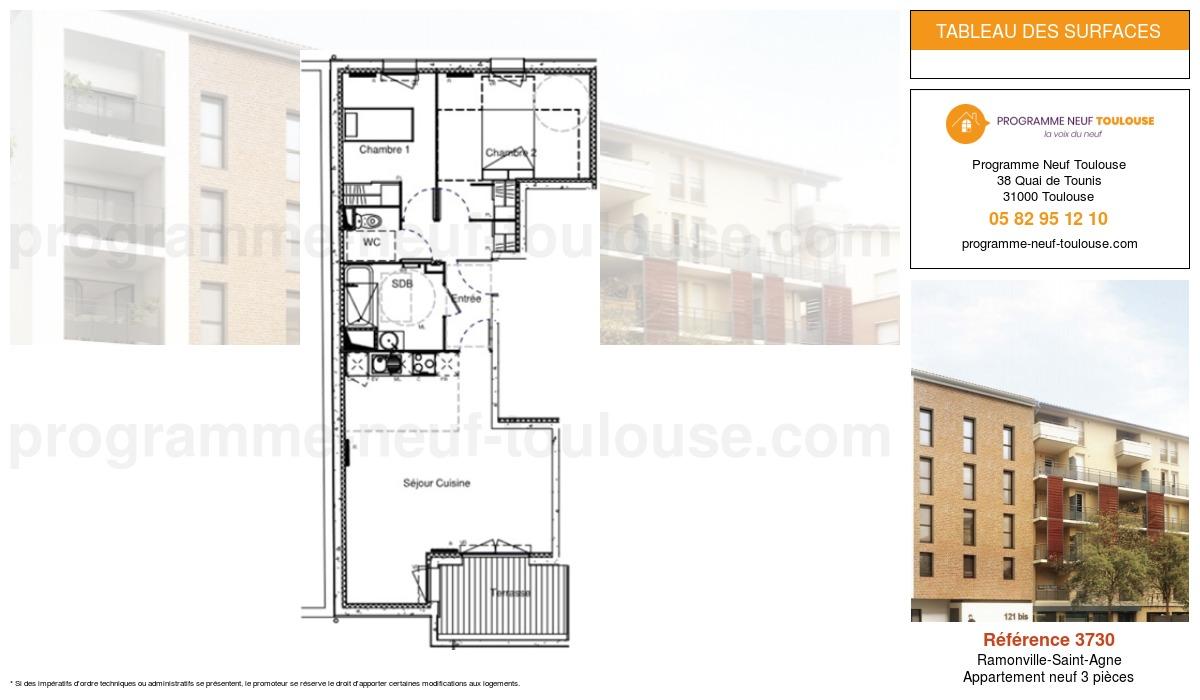 Plan pour un Appartement neuf de  66.54m² à Ramonville-Saint-Agne