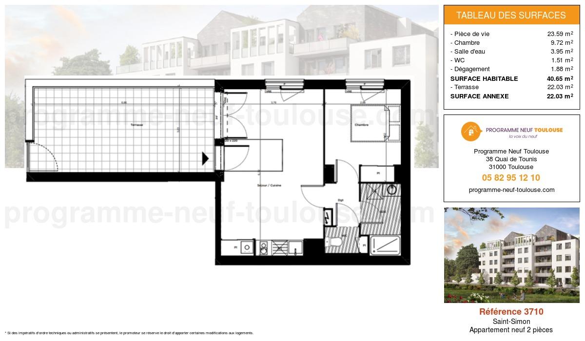 Plan pour un Appartement neuf de  40.85m² à Saint-Simon