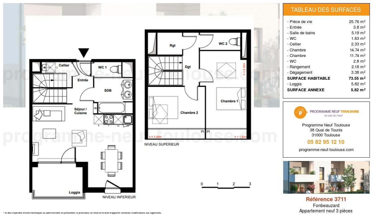 Plan pour un Appartement neuf de  73.55m² à Fonbeauzard