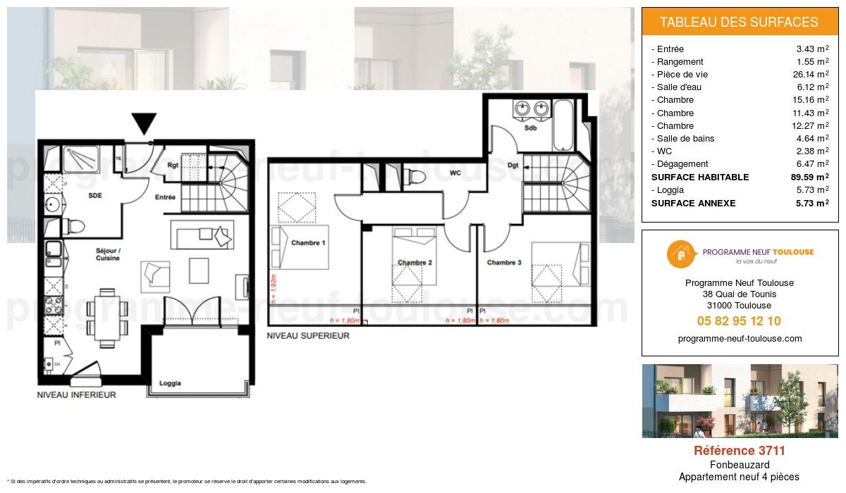 Plan pour un Appartement neuf de  89.59m² à Fonbeauzard
