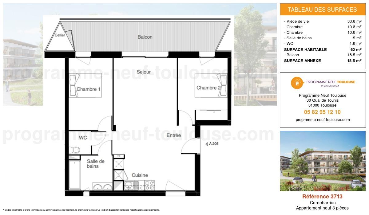 Plan pour un Appartement neuf de  62m² à Cornebarrieu