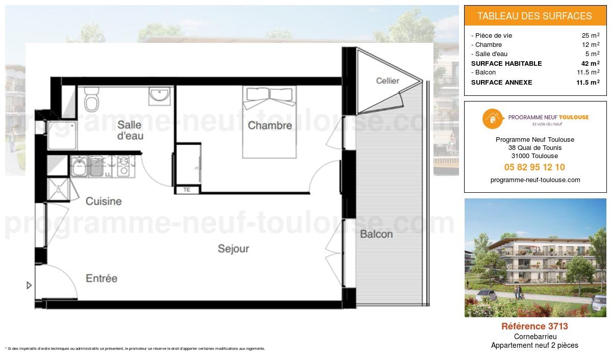 Plan pour un Appartement neuf de  42m² à Cornebarrieu