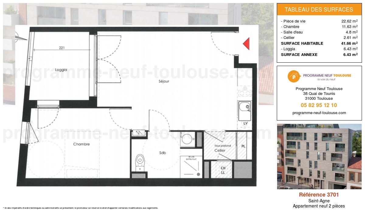 Plan pour un Appartement neuf de  41.66m² à Saint-Agne