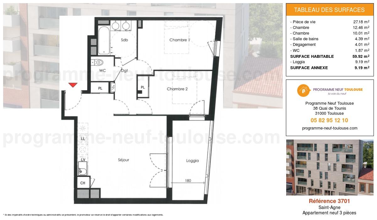 Plan pour un Appartement neuf de  59.92m² à Saint-Agne