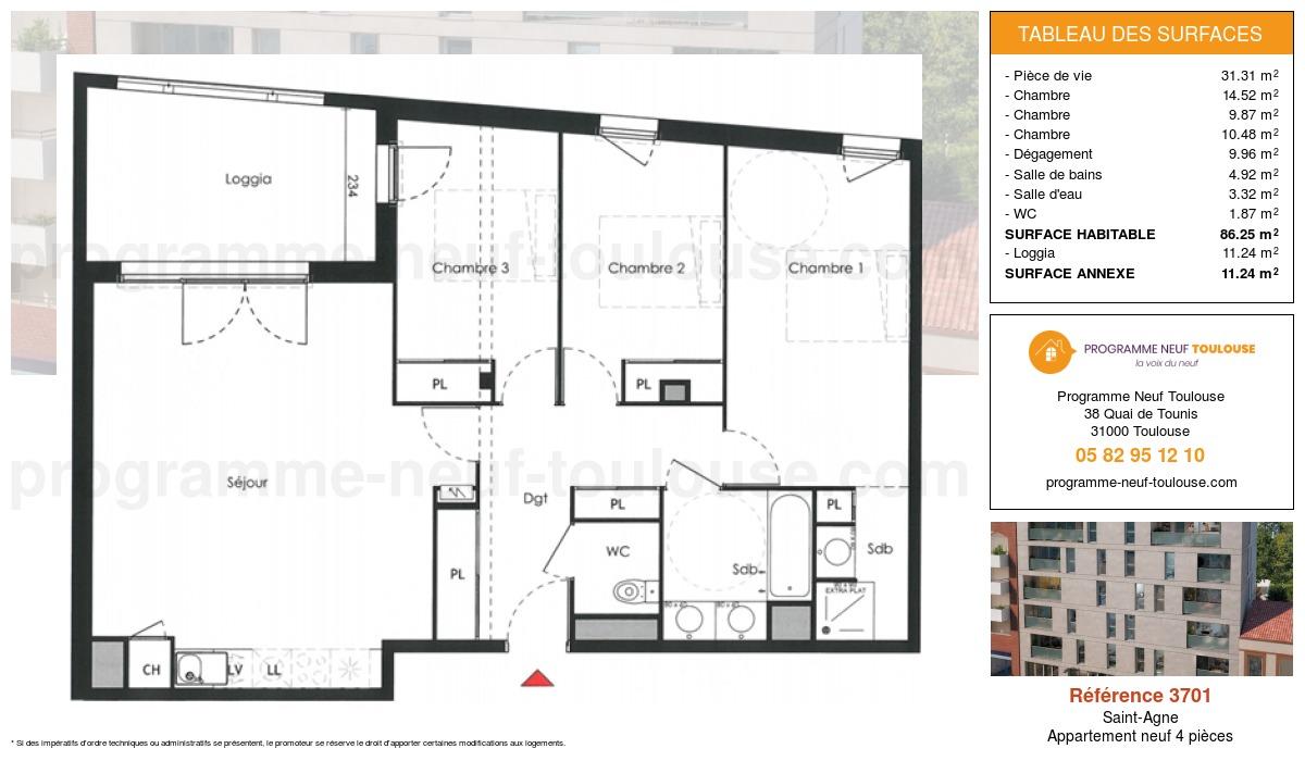 Plan pour un Appartement neuf de  86.25m² à Saint-Agne