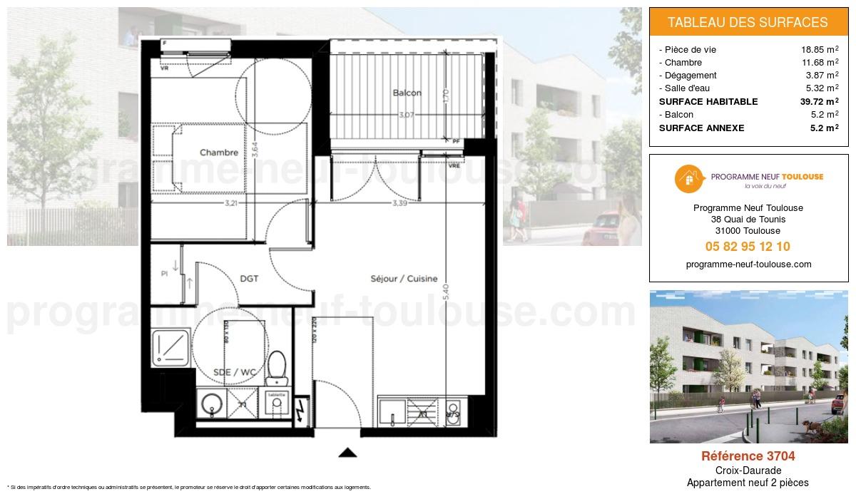 Plan pour un Appartement neuf de  39.72m² à Croix-Daurade