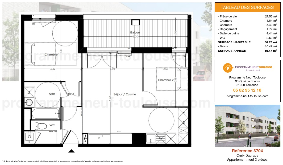 Plan pour un Appartement neuf de  56.73m² à Croix-Daurade