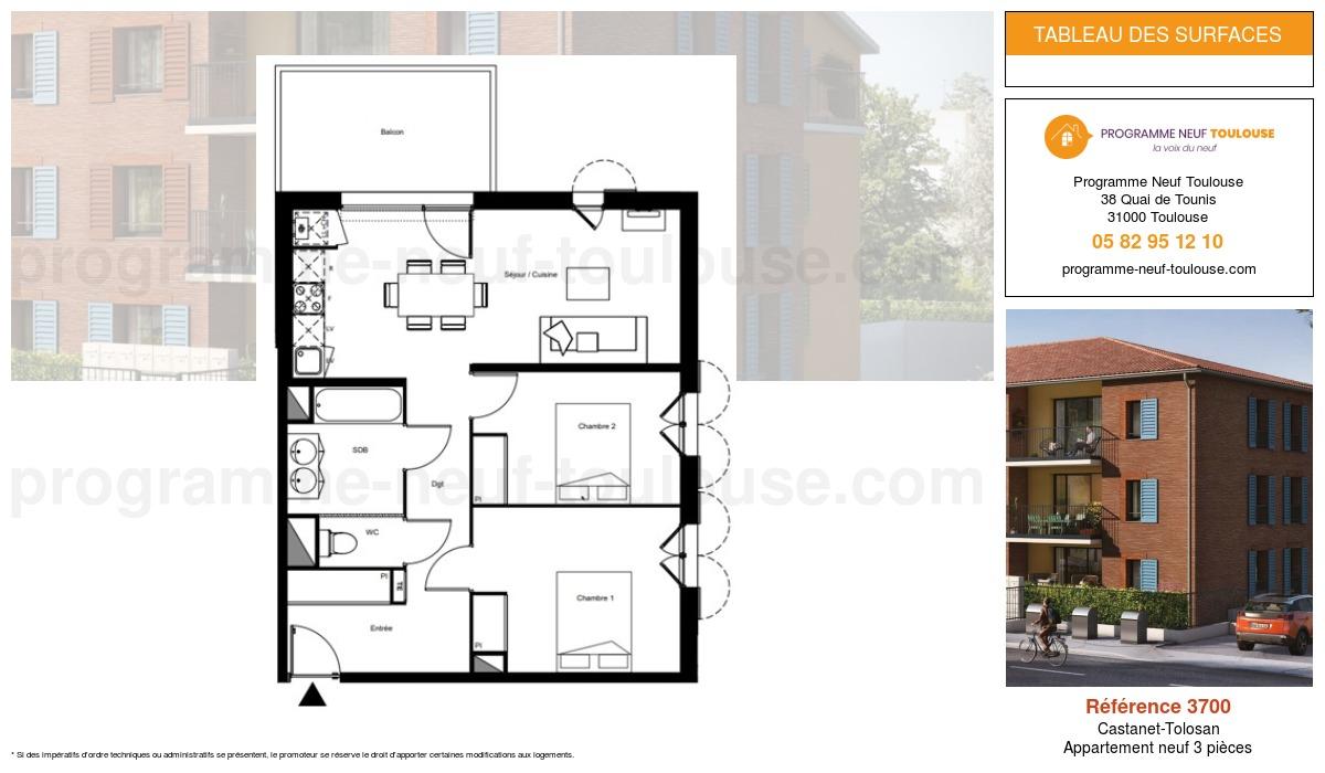 Plan pour un Appartement neuf de  61.02m² à Castanet-Tolosan