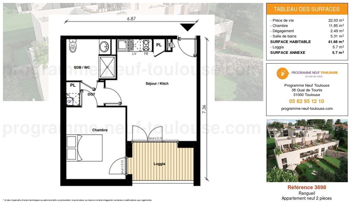 Plan pour un Appartement neuf de  41.68m² à Rangueil