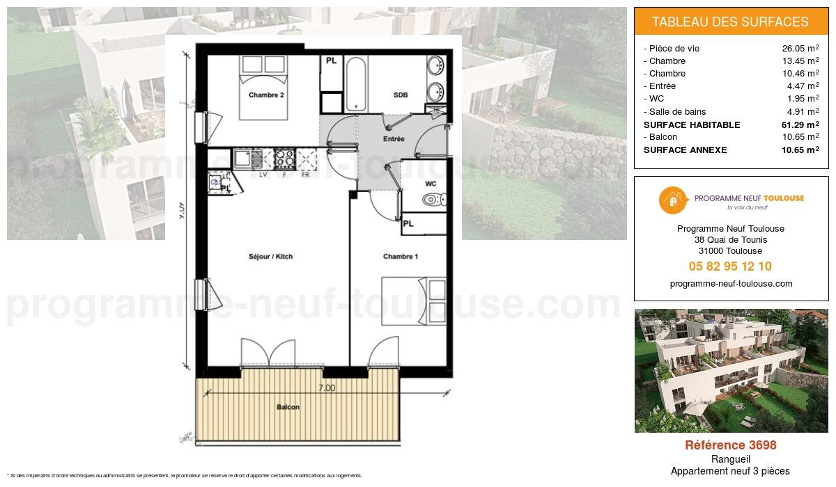 Plan pour un Appartement neuf de  61.29m² à Rangueil
