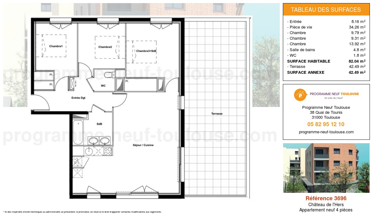 Plan pour un Appartement neuf de  82.04m² à Château de l'Hers