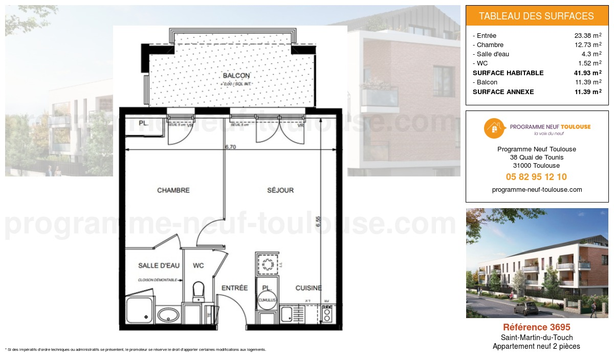 Plan pour un Appartement neuf de  41.93m² à Saint-Martin-du-Touch