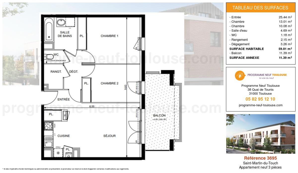 Plan pour un Appartement neuf de  59.81m² à Saint-Martin-du-Touch