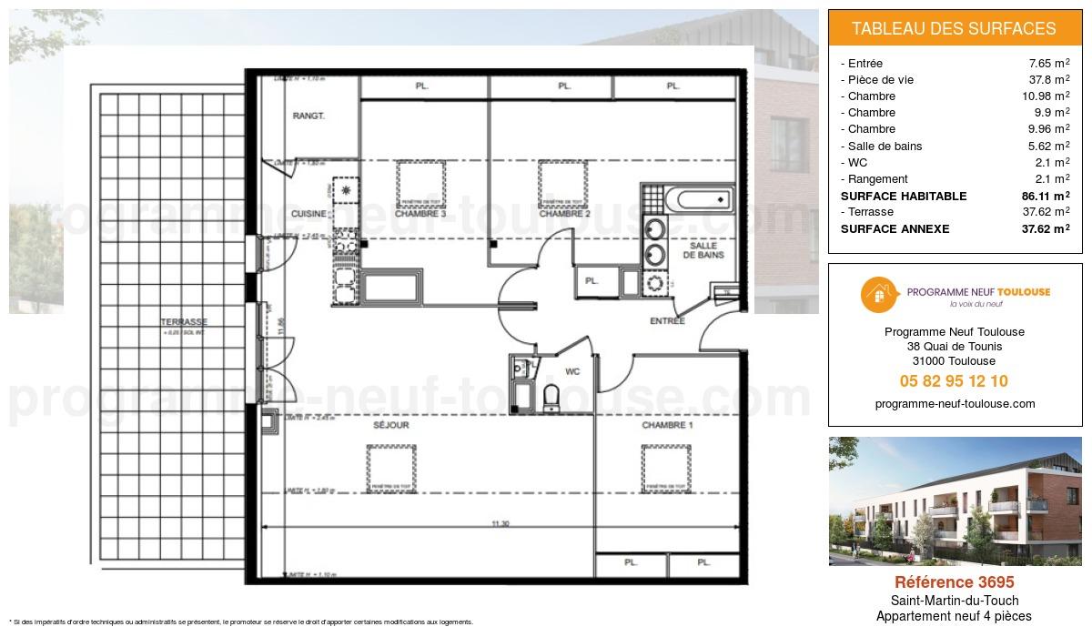 Plan pour un Appartement neuf de  86.11m² à Saint-Martin-du-Touch
