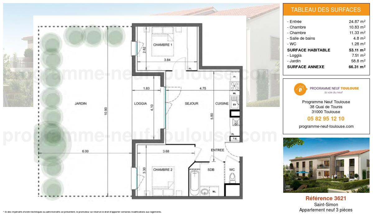 Plan pour un Appartement neuf de  53.11m² à Saint-Simon