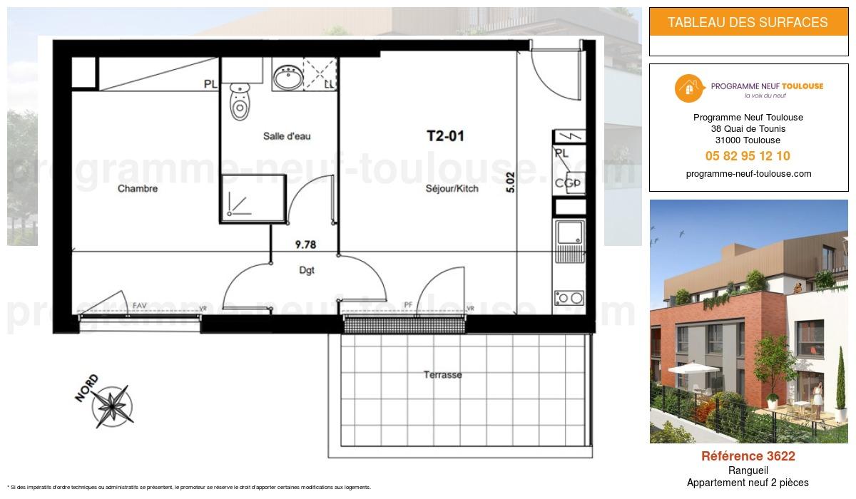 Plan pour un Appartement neuf de  0m² à Rangueil
