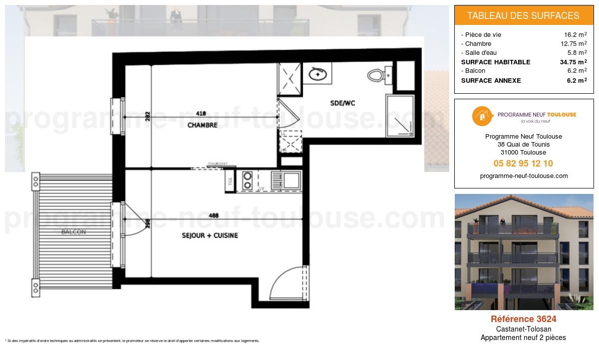 Plan pour un Appartement neuf de  34.75m² à Castanet-Tolosan