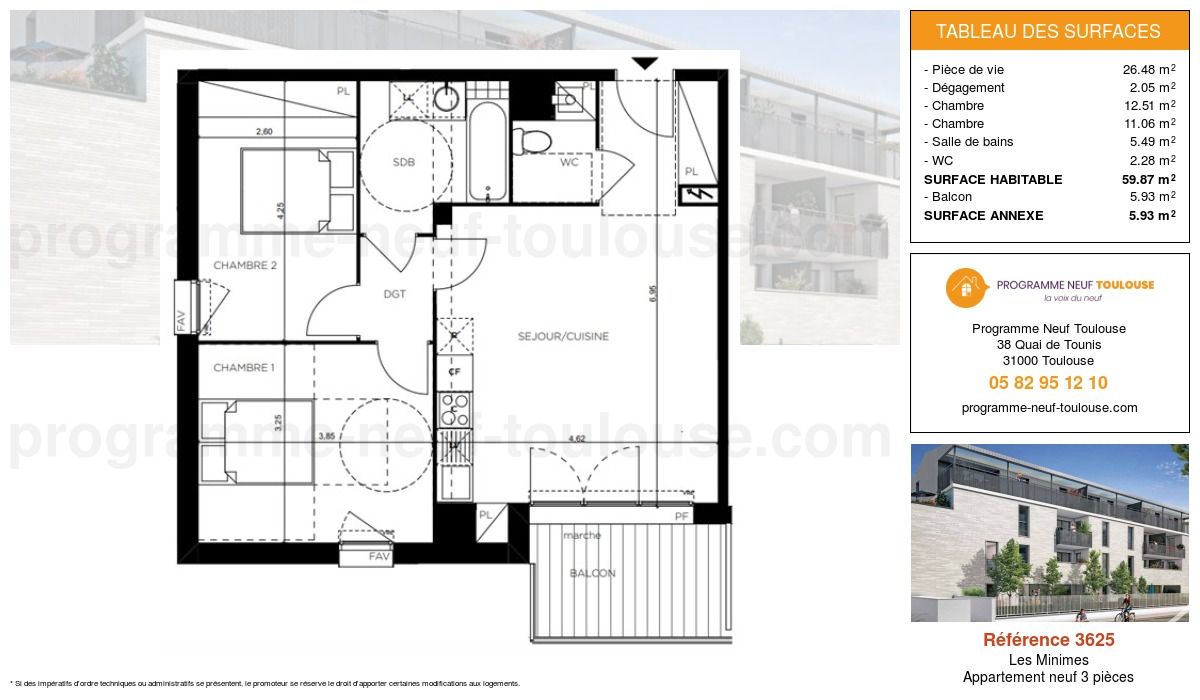 Plan pour un Appartement neuf de  59.87m² à Les Minimes