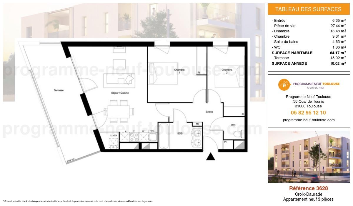 Plan pour un Appartement neuf de  64.17m² à Croix-Daurade