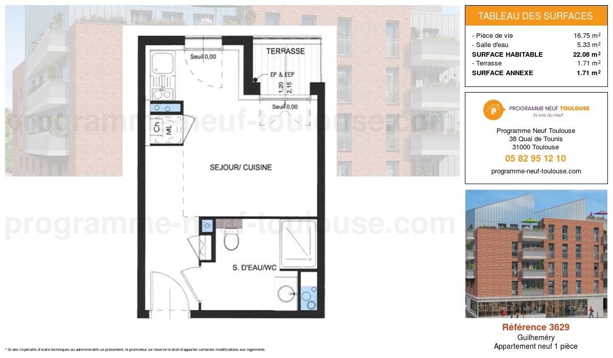 Plan pour un Appartement neuf de  22.66m² à Guilheméry
