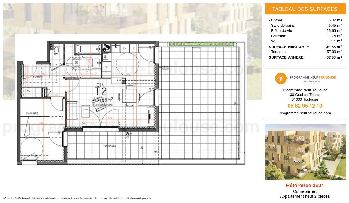 Plan pour un Appartement neuf de  49.88m² à Cornebarrieu
