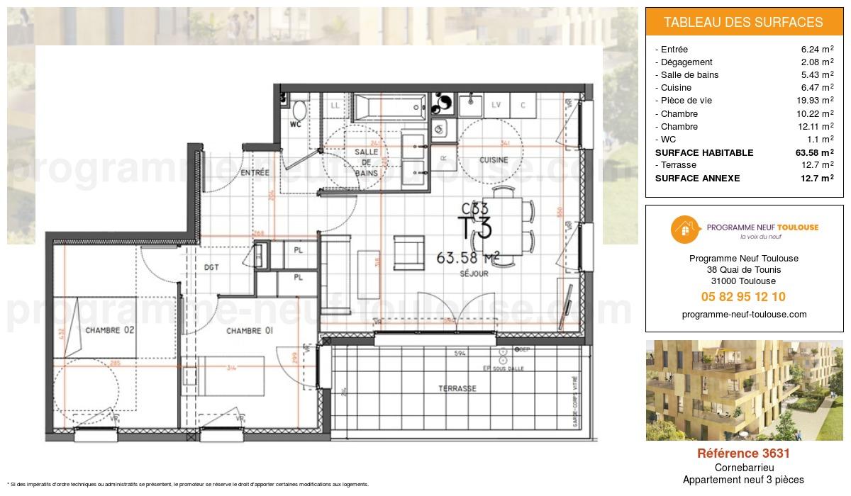 Plan pour un Appartement neuf de  63.58m² à Cornebarrieu