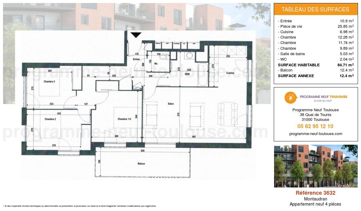 Plan pour un Appartement neuf de  84.71m² à Montaudran