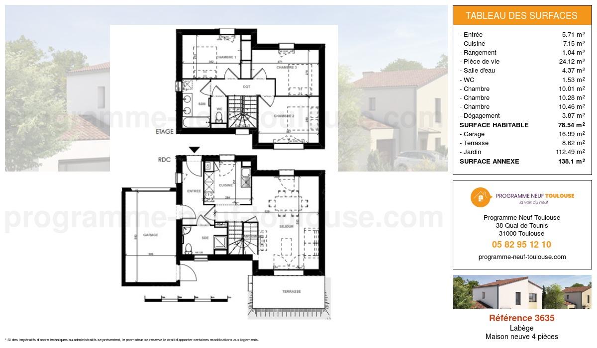 Plan pour un Maison neuve de  78.54m² à Labège