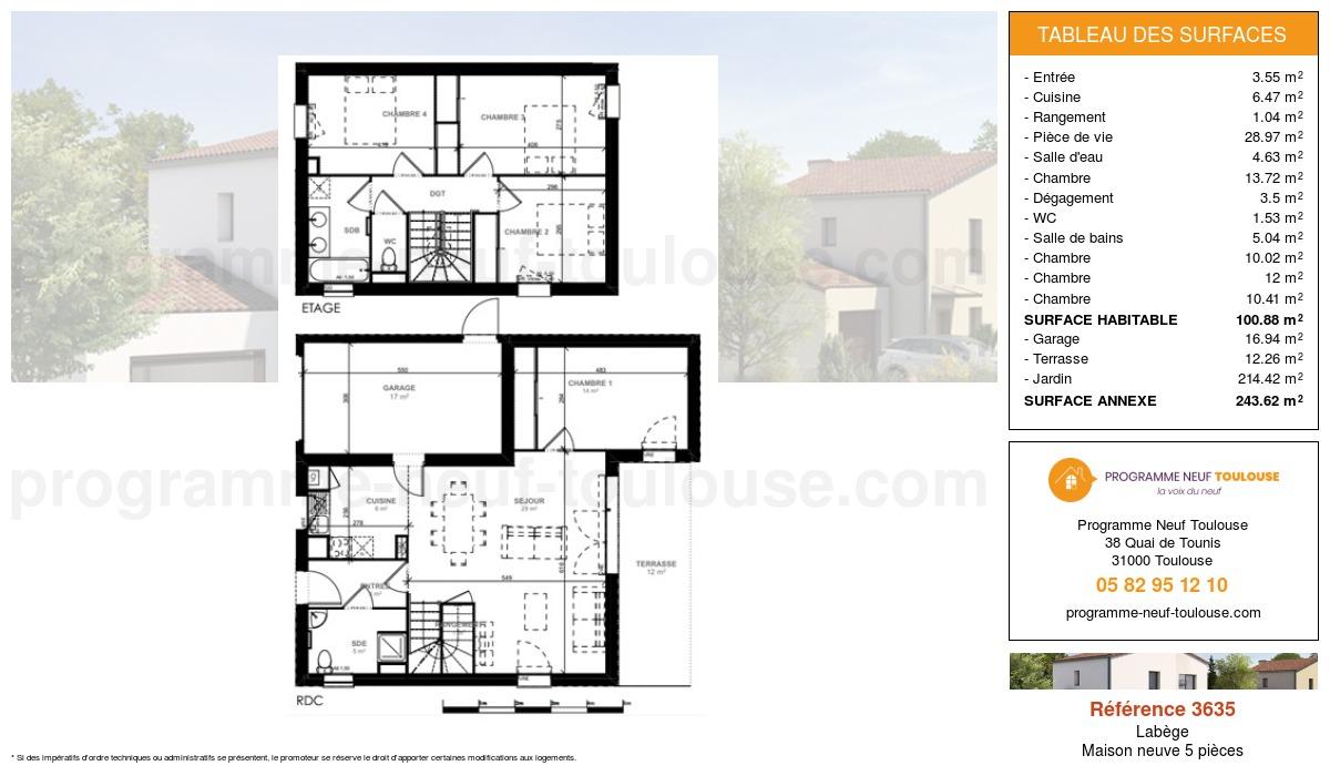 Plan pour un Maison neuve de  100.88m² à Labège