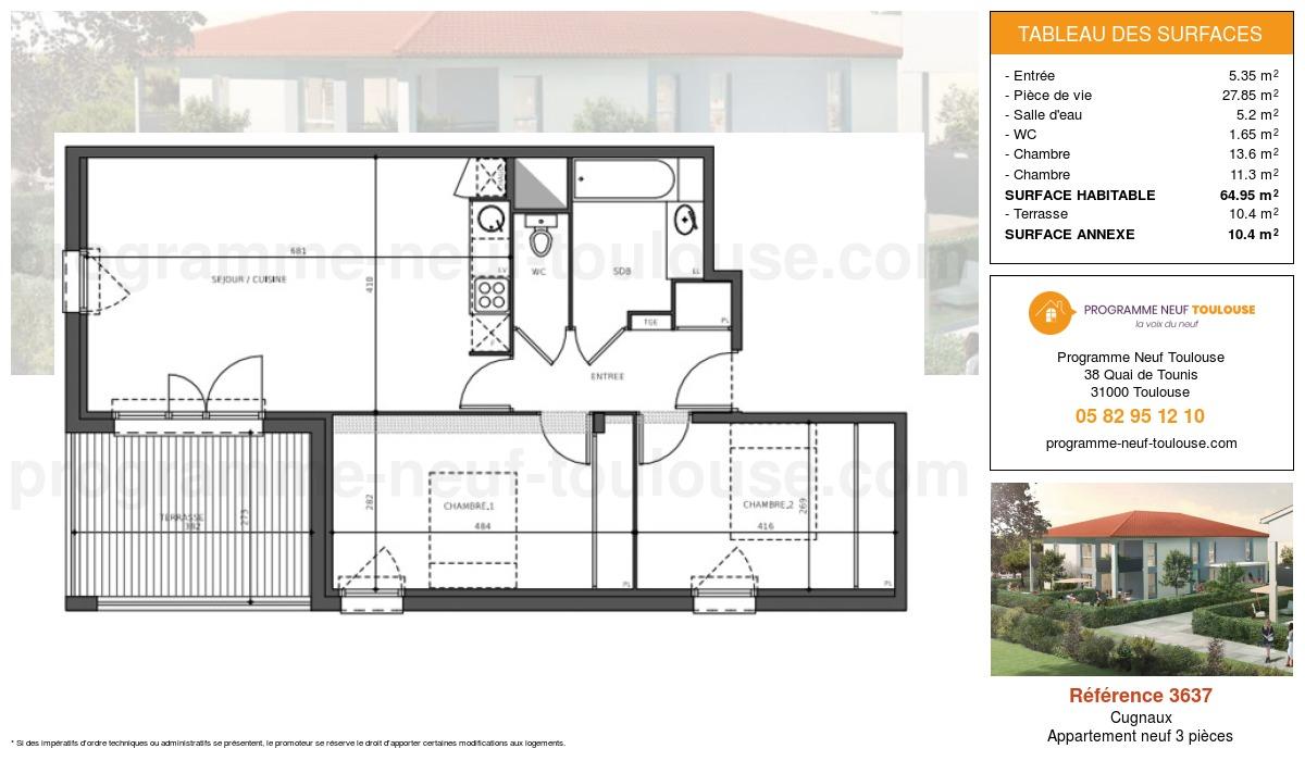 Plan pour un Appartement neuf de  64.95m² à Cugnaux
