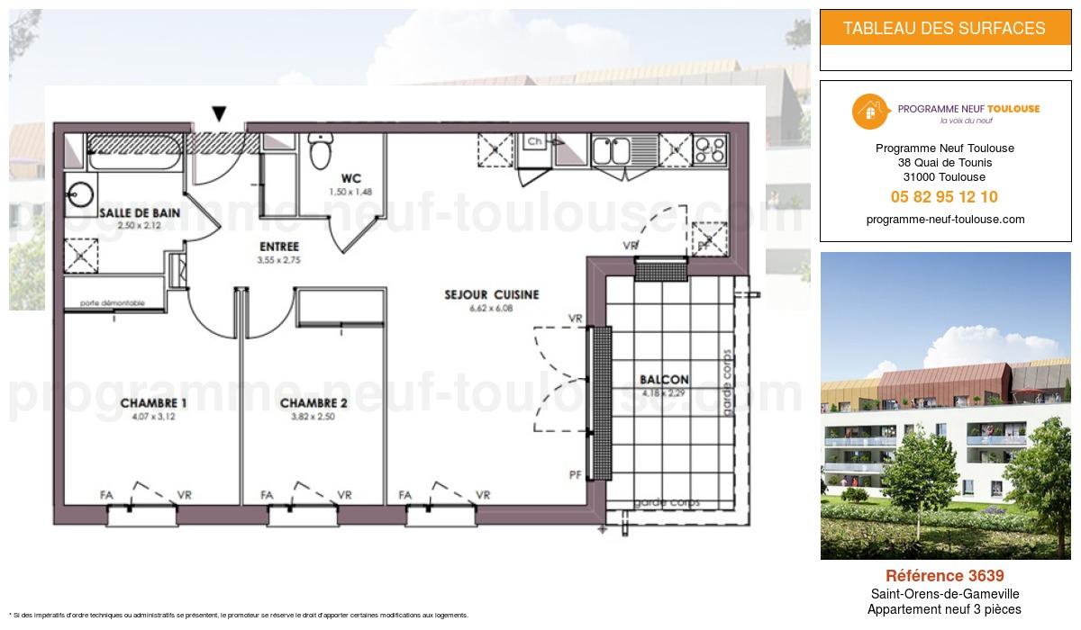 Plan pour un Appartement neuf de  0m² à Saint-Orens-de-Gameville