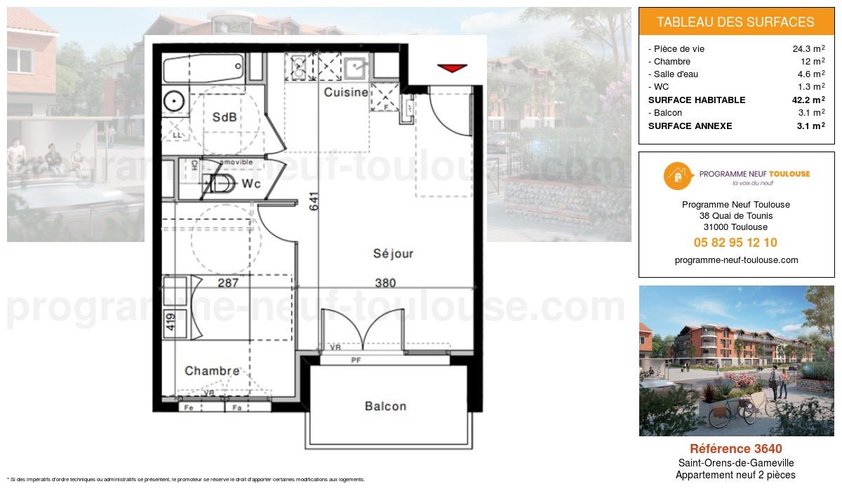 Plan pour un Appartement neuf de  42.2m² à Saint-Orens-de-Gameville