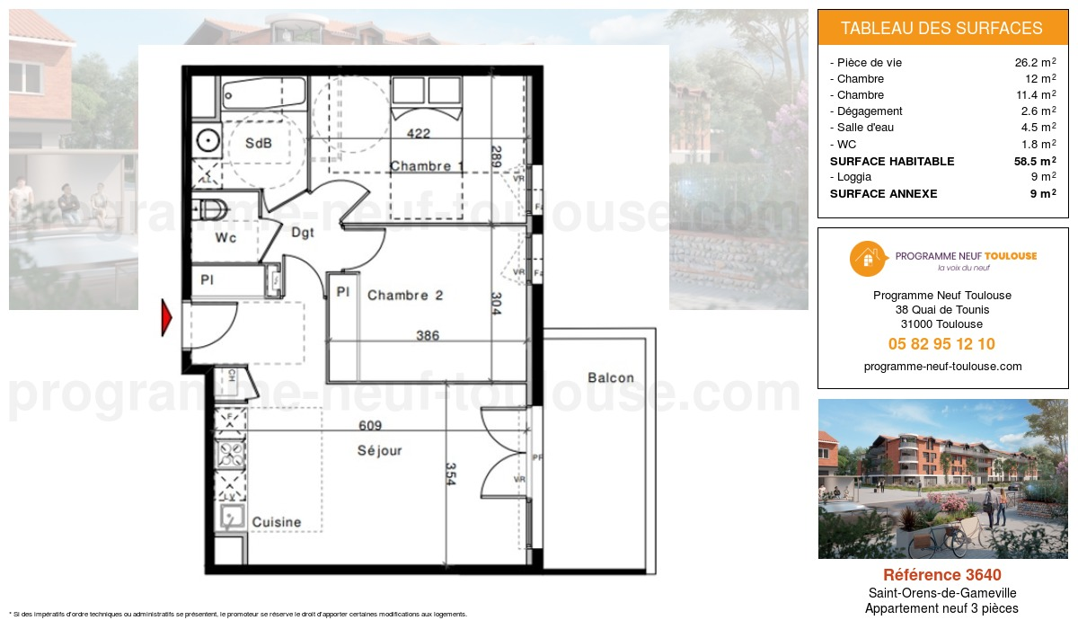 Plan pour un Appartement neuf de  58.5m² à Saint-Orens-de-Gameville