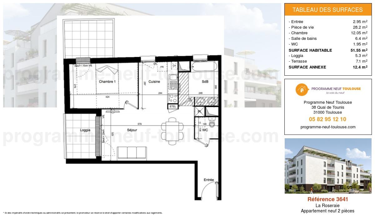 Plan pour un Appartement neuf de  51.6m² à La Roseraie
