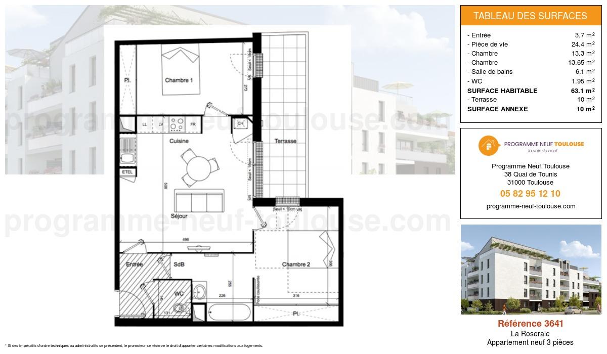 Plan pour un Appartement neuf de  63.18m² à La Roseraie